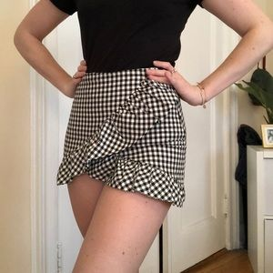 Zara Skirts - Gingham skirt with shorts interior- skort- Zara